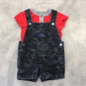 LUCKY BRAND Jean Overall Shorts /w Onesie Set